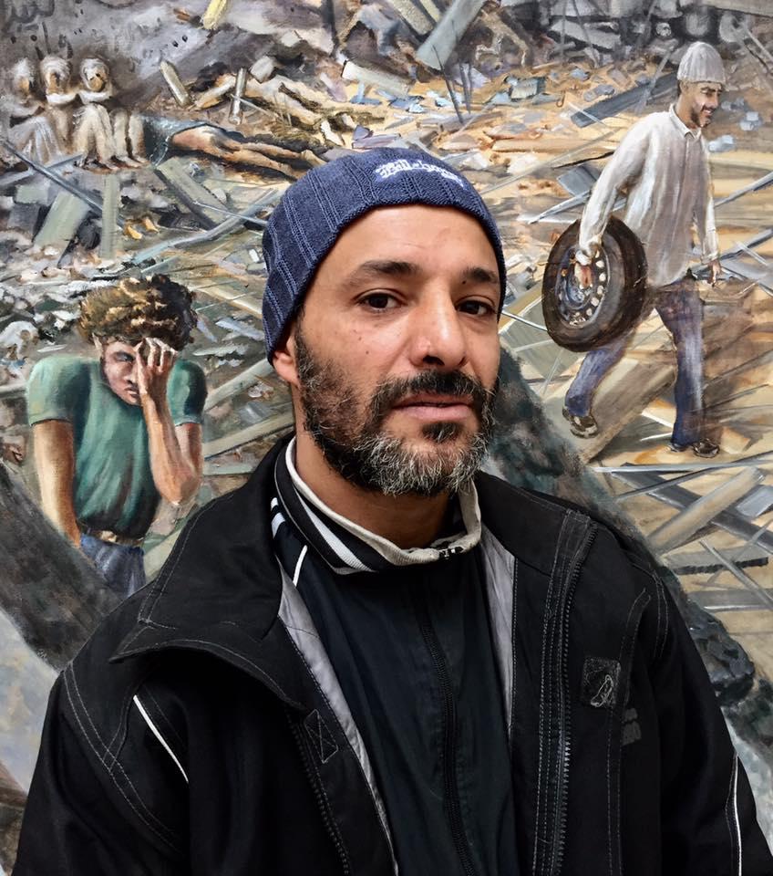 Naser Mohamed Guweda; mekaniker, Any Time Auto med i DR1 og på maleriet mag ham. Thomas Westergaard; journalist DR1 Eftermiddag.