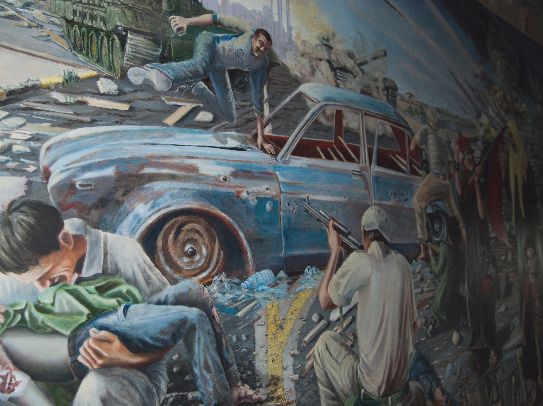 Udsnit af batalje maleri over den danske indsats i Libyen krigen. Simone Aaberg Kærn.