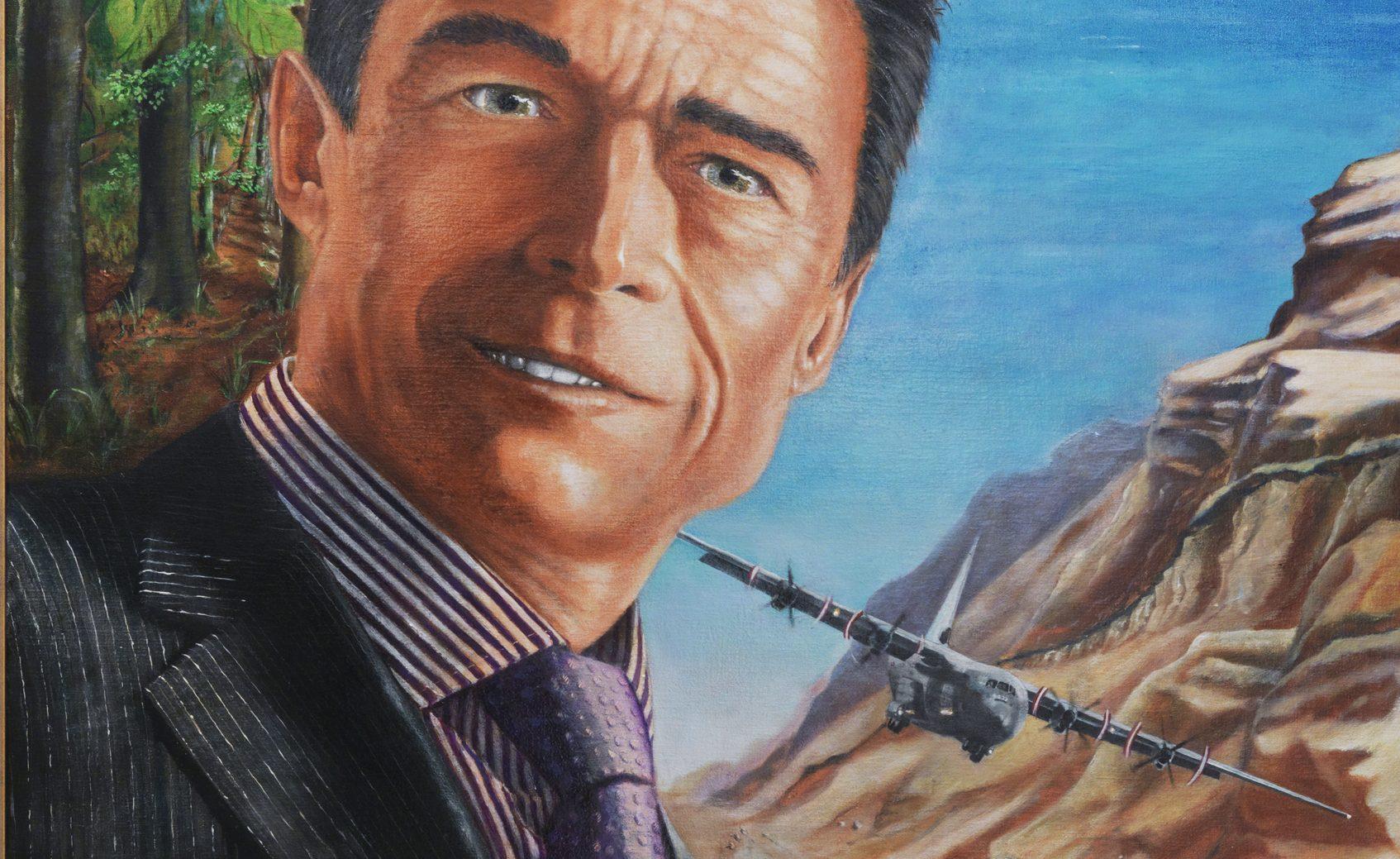 Portrætmaleri af fhv. statsminister, nuværende Generalsekretær fot NATO, Anders Fogh Rasmussen, malet af Simone Aaberg Kærn - 2010 - udsnit.